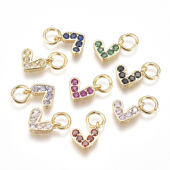 Brass Micro Pave Cubic Zirconia Charms, with Jump Ring, Long-Lasting Plated, Real 18K Gold Plated, Heart, Mixed Color, 6x8x2mm, Hole: 3mm
