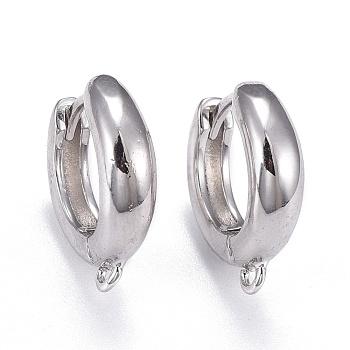 Pendientes de aro de latón, hallazgo de pendiente de aro huggie, Plateado de larga duración, con bucle, anillo, Platino real plateado, 16x15x4mm, agujero: 1.2 mm, pin: 1 mm