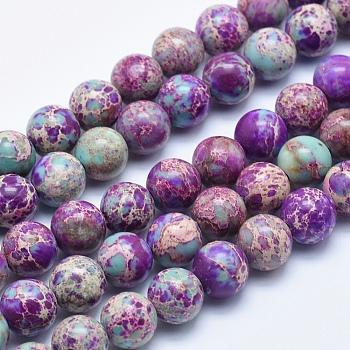 Hilos de cuentas de jaspe imperial natural, teñido, redondo, Violeta Azul, 8mm, agujero: 1 mm, aproximamente 48 unidades / cadena, 15.5 pulgada