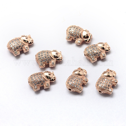 Abalorios de latón cubic zirconia chapado en rackX-ZIRC-S032-01RG-1