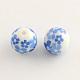 Perles rondes en verre avec motif de fleurs, ronde, cornflowerblue, 10x9mm, Trou: 1.5mm