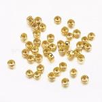 Abalorios de latón, rerondana plana, dorado, aproximamente 2.5 mm de diámetro, agujero: 1.2 mm