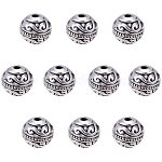 PandaHall Elite 60pcs 8mm Round Spacers Beads Tibetan Alloy Metal Charms Beads Antique Silver for Bracelet Jewelry Making, hole: 1.5mm