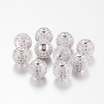 Brass Cubic Zirconia Beads, Round, Silver Color Plated, 10mm, Hole: 2mm