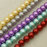 Glass Pearl Beads Strands, Round, Mixed Color, 4mm, Hole: 0.5mm, about 215pcs/strand, 32