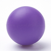 Food Grade Environmental Silicone Beads, Chewing Beads For Teethers, DIY Nursing Necklaces Making, Round, DarkOrchid, 14~15mm, Hole: 2mm