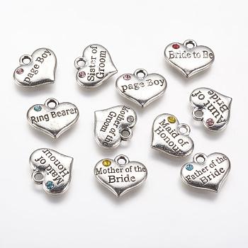 Aluminium Anhänger & Charms, mit Strass, Herz mit Wort, Antik Silber Farbe, 14x16x2.5 mm, Bohrung: 2 mm