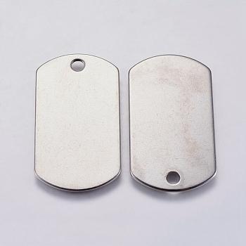 304 подвески из нержавеющей стали, прямоугольные, штамповка пустой метки, цвет нержавеющей стали, 35x19.5x1 мм, отверстие : 3 мм