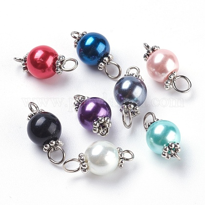 Pearlized Glass Pearl Links connectorsX-PALLOY-JF00348-1