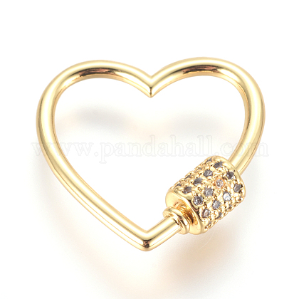 Brass Micro Pave Cubic Zirconia Screw Carabiner Lock CharmsZIRC-F105-16G-1