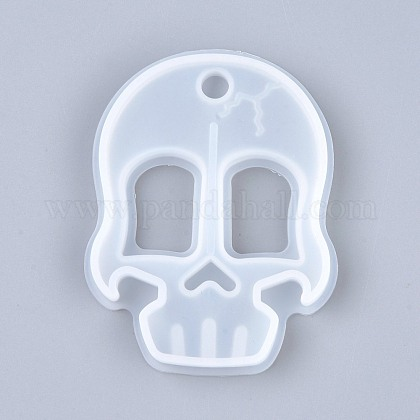 Self Defense Silicone Molds, Resin Casting Molds, Self Defense Finger Weapons Skull Keychains Molds, Clear, 85x65x10mm, Hole: 9mm, Inner Diameter: 79x60mm X-DIY-I036-15