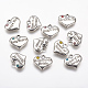 Colgantes de la aleación, con diamante de imitación, corazón con la palabra, plata antigua, 14x16x2.5mm, agujero: 2 mm