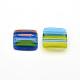 Cabochons de cristal millefiori hecho a mano, cuadrado, colorido, 14x14x4mm