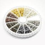 1 box 6 couleur protecteur de fil gardien en laiton, couleur mixte, 5x4x1mm, trou: 0.5 mm; environ 540 / boîte