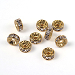 Brass Rhinestone Spacer Beads, Grade AAA, Straight Flange, Nickel Free, Golden Metal Color, Rondelle, Crystal, 6x3mm, Hole: 1mm