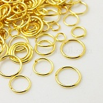 Iron Jump Rings, Close but Unsoldered, Mixed Size, Golden, 18~21 Gauge, 4~10x0.7~1mm