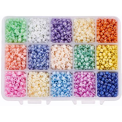 PandaHall About 3000 Pcs 15 Colors 6/0 Multicolor Beading Glass Seed Beads Round Pony Bead Mini Spacer Czech Beads for Jewelry MakingSEED-PH0012-08-1