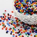 Abalorios de la semilla de cristal, colores opacos semilla, redondo, color mezclado, tamaño: aproximamente 2 mm de diámetro, agujero: 1 mm, aproximamente 30000 unidades / libra