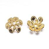 Véritables chapeaux de perles en argent sterling plaqué or 18 k 6 pétales, fleur, or, 11.5x4mm, trou: 2 mm; environ 26 pcs / 20 g