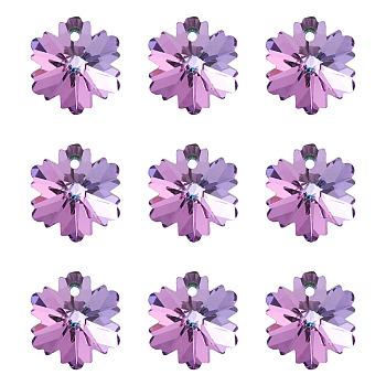 Encantos de cristal Diamante de imitación K9, imitación de cristal austriaco, facetados, copo de nieve, para la Navidad, amatista luz, 14x12.5x7.6mm, agujero: 1.2 mm
