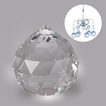 Transparent K9 Glass Pendants, Crystal Ball Prism Hanging Pendants, for Windows, Feng Shui, Teardrop, Clear, 45.5x40.5mm, Hole: 1.6mm