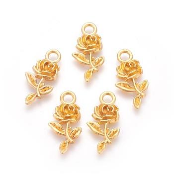 合金のチベット風ペンダント  花バラ  ゴールドカラー  21x10.5x2.5mm  穴:2.5mm