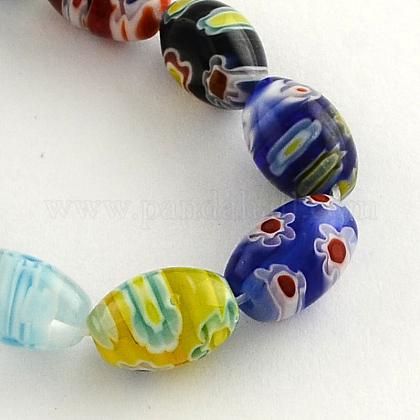 Hechos a mano ovales cuentas de vidrio millefiori hebrasLK-R004-84-1