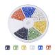 6 Colors Pearlized Plated Handmade Porcelain Cabochons, Square, Mixed Color, 4x4x1.4mm, about 170~175pcs/comparment, 1020~1050pcs/box
