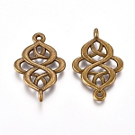 Tibetan Style Links Connectors, Alloy, Lead Free and Cadmium Free, Rhombus, Antique Bronze Color, Size: about 28mm long, 18mm wide, 2mm thick, hole: 1.5mm, 675pcs/1000g