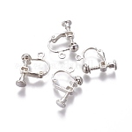 Rack Plated Brass Screw Clip-on Earring Findings, Silver Color Plated, 13x17x4.5mm, Hole: 1.6mm