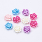 Mixed Opaque Resin Flower Cabochons, 14x6mm