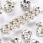 Brass Rhinestone Spacer Beads, Grade A, Wavy Edge, Silver Color Plated, Rondelle, Crystal, 8x3.8mm, Hole: 1mm