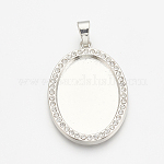Alloy Pendant Cabochon Settings, Picture Memory Frame Pendants, with Rhinestone, Oval, Platinum, Tray: 18x13mm; 26.5x18.5x2.5mm, Hole: 4x6mm