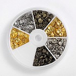 Iron Bead Caps, 3 Color, Mixed Color, 5~6x1~1.5mm, Hole: 1mm; about 200pcs/compartemnt, 1200pcs/box