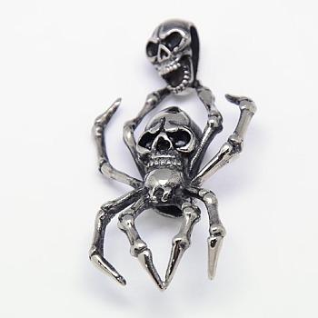 Модные ретро-украшения на Хэллоуин 316 хирургические подвески из нержавеющей стали, паук и череп, античное серебро, 64x30~33x9 мм, отверстие : 5x12 мм