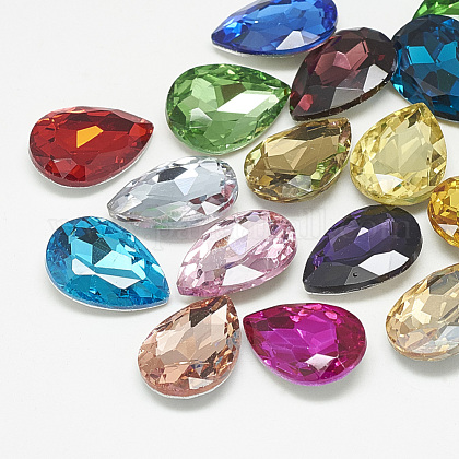 Pointed Back Glass Rhinestone Cabochons RGLA-T081-6x8mm-1