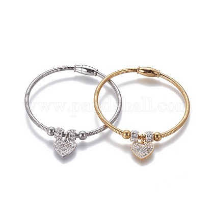 304 Stainless Steel Charms Bangles BJEW-P258-06-1
