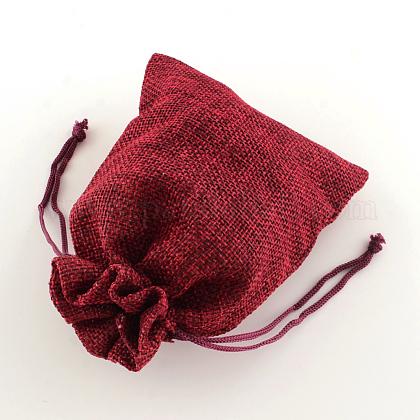 ポリエステル模造黄麻布包装袋巾着袋ABAG-R004-18x13cm-06-1