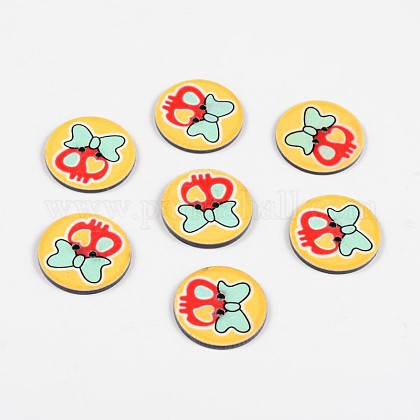 2-Hole Flat Round with Lovely Skull Pattern Acrylic ButtonsBUTT-F055-02F-1