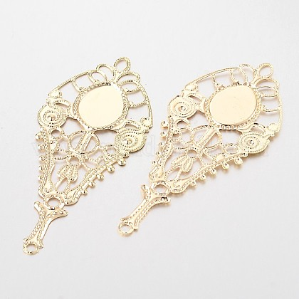 Filigree Teardrop Iron Cabochon Connector Settings IFIN-N3304-04-1