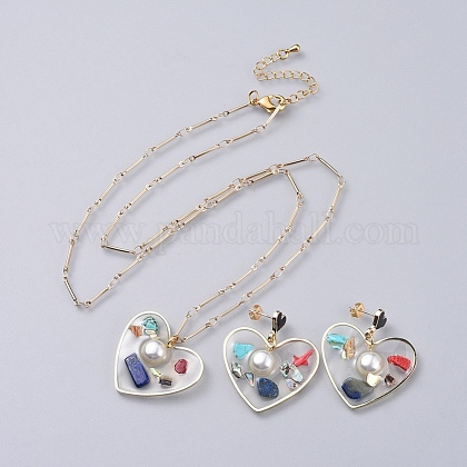 Epoxy Resin Dangle Earring & Pendant Necklace Jewelry Sets SJEW-JS01034-03-1