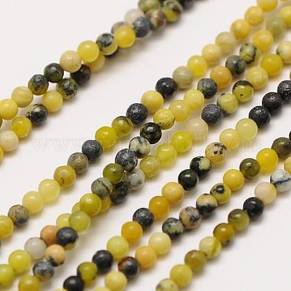De piedras preciosas naturales cuentas redondas turquesa amarilla hebrasX-G-A130-2mm-L01-1