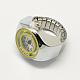 Platinum Tone Iron Stretch Ring Quartz WatchesRJEW-R119-14-3