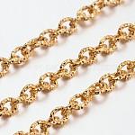 Cadenas de cable de aluminio, textura, sin soldar, oval, oro, 7x6x1.5mm