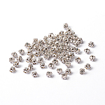 Sew on Rhinestone, Grade A Glass Rhinestone, with Brass Prong Settings, Garments Accessories, Silver Color Plated Metal Color, Crystal, 3~3.2x3~3.2mm, Hole: 1mm; about 1440pcs/bag