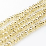 Glass Beads Strands, Pearl Luster Plated, Crystal Suncatcher, Faceted Rondelle, Goldenrod, 10x7mm, Hole: 1mm; about 70~72pcs/strand, 18
