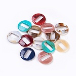 Acrylic Pendants, Imitation Gemstone Style, Flat Round, Mixed Color, 39x39.5x7mm, Hole: 1.5mm; about 112pcs/500g