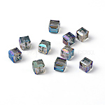 Faceted Cube Electorplated Glass Beads, Rainbow Plated, MediumTurquoise, 7x7x7mm, Hole: 1mm