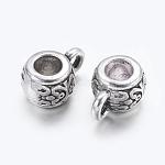 Tibetan Silver Alloy Hanger Links, Rondelle Bail Beads, Lead Free, Inner Diameter: Nickel Free, Inner Diameter: Cadmium Free, Antique Silver, about 8mm wide, 5.5mm long, Hole: 2mm, Inner Diameter: 3.5mm