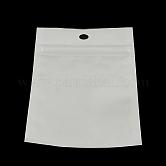 Sacs de fermeture à glissière en plastique de film de perle, sacs d'emballage refermables, avec trou de suspension, joint haut, sac auto-scellant, rectangle, blanc, 15x10 cm; mesure intérieure: 12x9 cm
